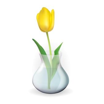 Realistische transparente vase aus 3d-glas mit tulpenblume.
