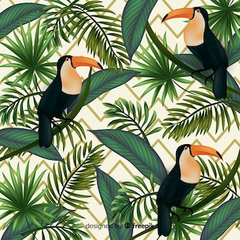 Realistische tropische blätter und vögel hintergrund