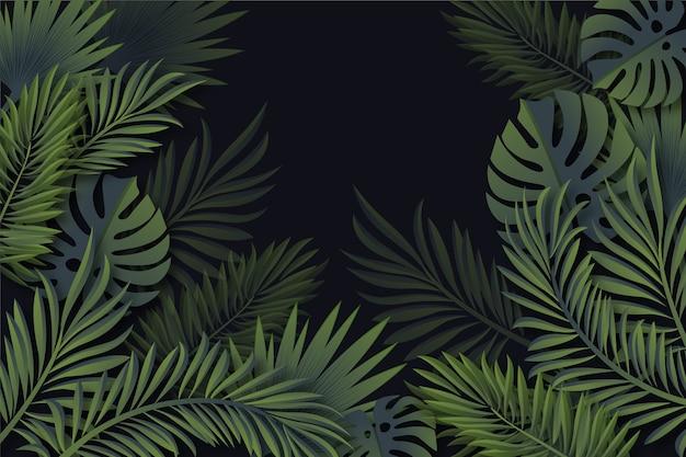 Realistische tropische blatttapete