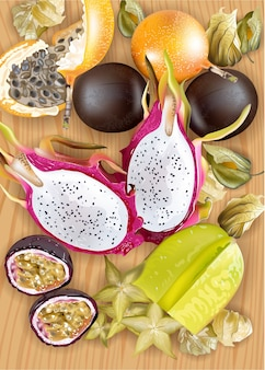 Realistische tropische früchte platte