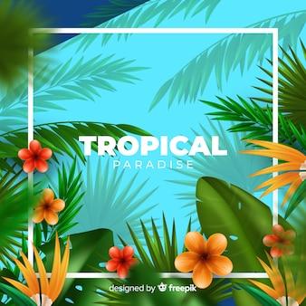 Realistische tropische pflanzen hintergrund