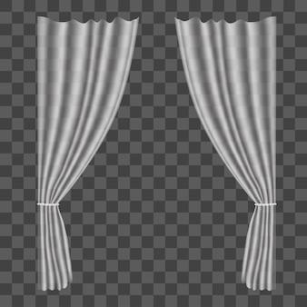 Realistische tüllvorhänge auf transparentem hintergrund drapiert für dekorationsfenster-innenraum. vektor-illustration