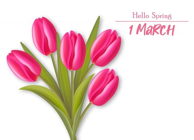 Realistische tulpen, hallo frühlingsmarschillustration
