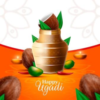 Realistische ugadi-vase mit kokosnuss und kerzen