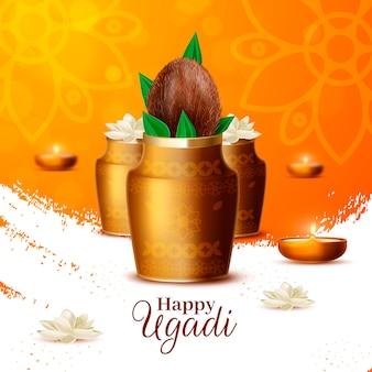 Realistische ugadi vase mit kokosnuss