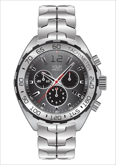 Realistische uhr chronograph edelstahl luxus.