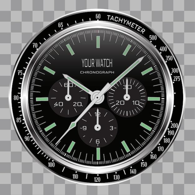 Realistische uhr chronograph gesicht stahl schwarz auf kariert.
