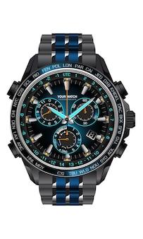 Realistische uhruhr chronograph blau dunkelgrau metall stahl design für männer auf weißem hintergrund illustration.