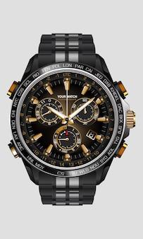 Realistische uhruhr chronograph schwarz stahl gold nummer luxus auf weißem hintergrund design für männer auf weißer illustration.