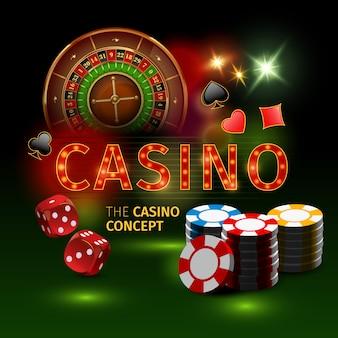 Realistische und farbige casino-online-spiele mit roulette-würfeln und spielfiguren