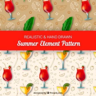Realistische und hand gezeichnete sommerelementmuster
