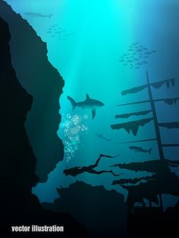 Realistische unterwasserillustration