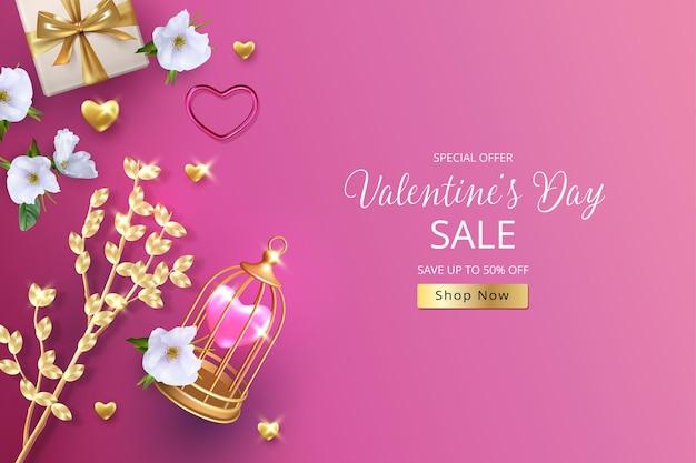 Realistische valentinstag banner. eleganter hintergrund mit goldenem zweig, blumen und vogelkäfig