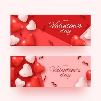 Realistische valentinstag-banner gesetzt
