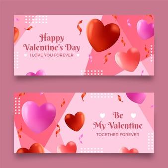 Realistische valentinstag banner vorlage