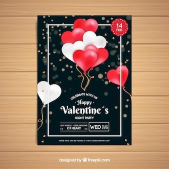Realistische valentinstag flyer / poster vorlage