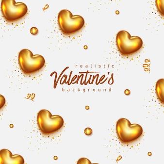 Realistische valentinstag-grußkarte mit beschriftung