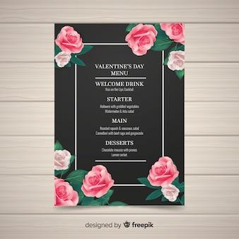 Realistische valentinstag menüvorlage
