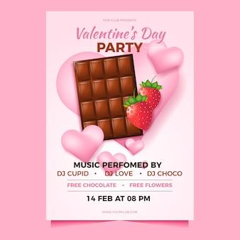 Realistische valentinstag party flyer vorlage