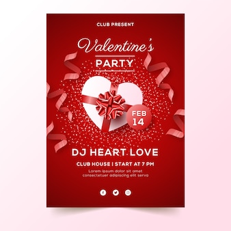 Realistische valentinstag party flyer vorlage