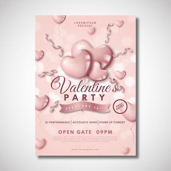 Realistische valentinstag party vorlage