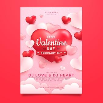 Realistische valentinstag-partyplakatschablone