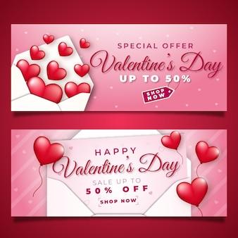 Realistische valentinstag-verkaufsbanner