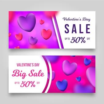 Realistische valentinstag-verkaufsfahnenschablone