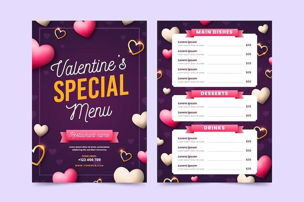 Realistische valentinstagmenüvorlage