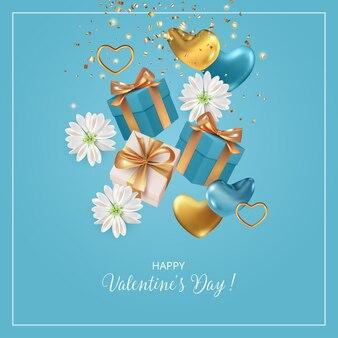 Realistische valentinstagskarte mit fliegenden herzen, geschenken und blumen