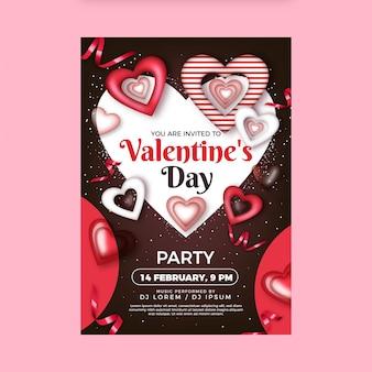 Realistische valentinstagspartyplakatschablone