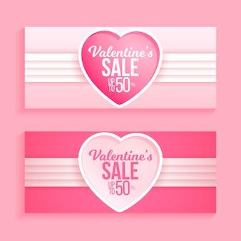 Realistische valentinstagverkaufsfahnen