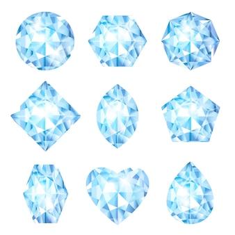 Realistische vektor-3d-diamanten gesetzt juwelen brillanten glänzende glassteine edelsteine oder kristalle