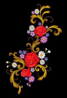 Realistische vektor stickerei mode patch blume rose daisy