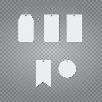 Realistische vektor vorlage von preisschild des leeren papiers