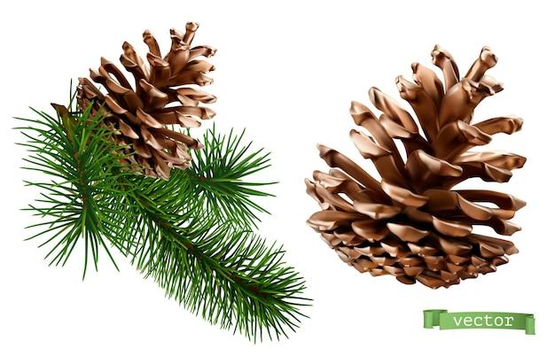 Realistische vektorikone der tannenzapfen-weihnachtsdekoration 3d