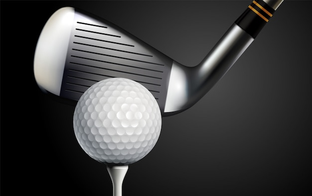 Realistische vektorillustration des golfschlägers und des balls