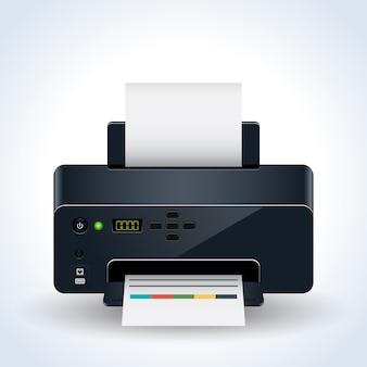 Realistische vektorillustration des modernen tischdruckers