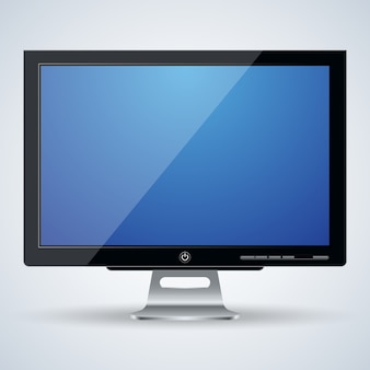 Realistische vektorillustration des monitors des computers 3d
