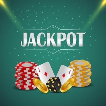 Realistische vektorillustration des online-glücksspiels des kasinos mit kreativen spielkarten-kasino-chips und goldmünze