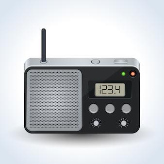 Realistische vektorillustration des radioempfängers