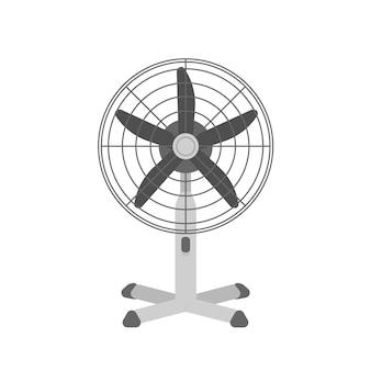 Realistische vektorillustration des schreibtischluftventilators. sommerluftkühlungswerkzeug für das büro lokalisiert auf weißem hintergrund. elektrischer tischlüfter, gebläse mit drehendem propeller. wetterkontrollgerät.