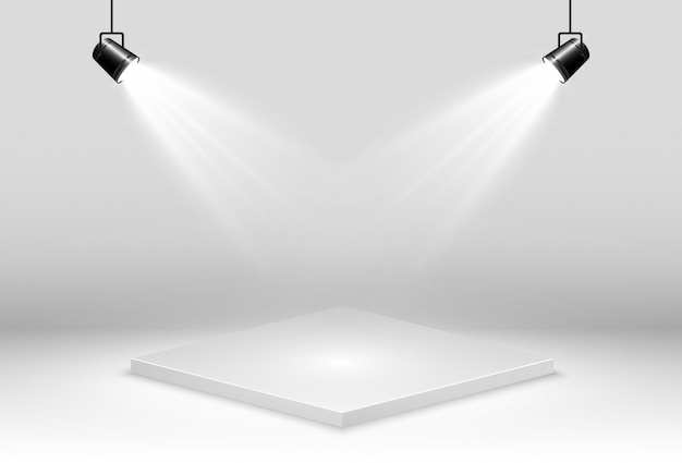 Realistische vektorillustration einer 3d-plattform ein ort, um etwas zu etablieren. Premium Vektoren