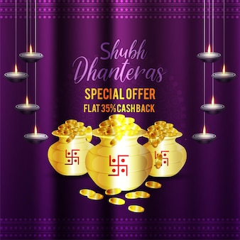 Realistische vektorillustration von shubh dhanteras feiergrußkarte mit goldmünzentopf
