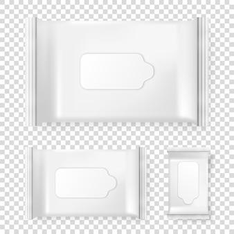 Realistische vektorpackung mit feuchttüchern-icon-set isoliert auf transparentem hintergrund. vektor-design-vorlage für das branding. nahaufnahmedesignschablone, mockup, illustration eps10.