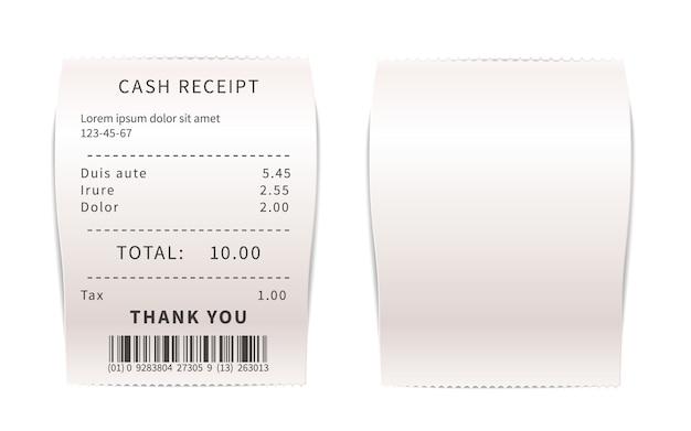 Realistische verkaufsbelege, weiße einkaufsrechnungen. papier finanzschecks auf weiß