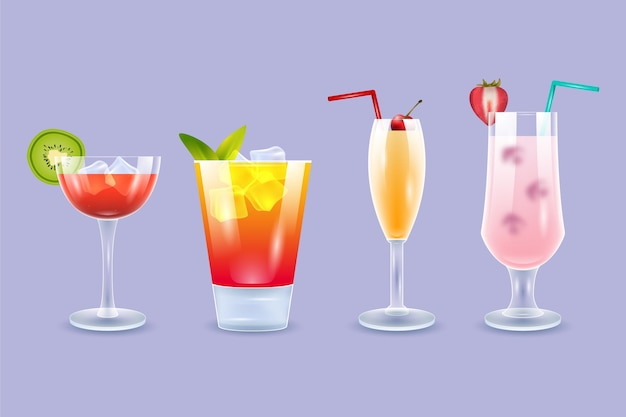 Realistische verschiedene cocktails sammlung