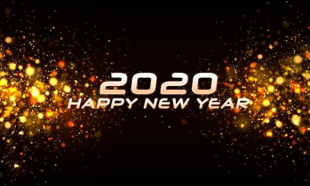 Realistische verschwommene brillante partikel neujahr 2020 hintergrund
