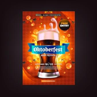 Realistische vertikale flyer-vorlage für das oktoberfest