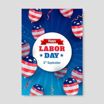 Realistische vertikale flyer-vorlage für den us-arbeitstag